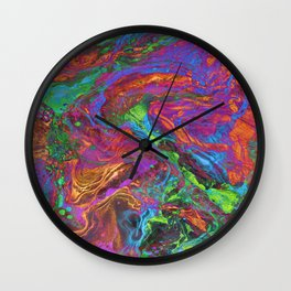 Psychedelic Cosmo Nightmare Glitch Wall Clock