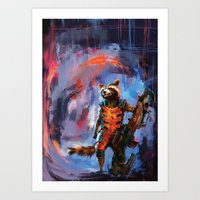 rocket racoon Art Prints featuring Rocket by Wisesnail
