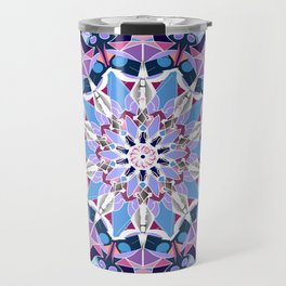 blue grey white pink purple mandala Travel Mug