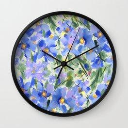 Blue Poppy Field Wall Clock