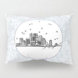 Minneapolis, Minnesota City Skyline Illustration Drawing Pillow Sham