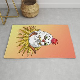 Mother hen with her cute cartoon chicks Rug