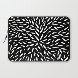 White on Black Marker Leaf Pattern Laptop Sleeve