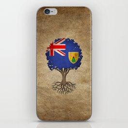 Vintage Tree of Life with Flag of Turks and Caicos iPhone Skin