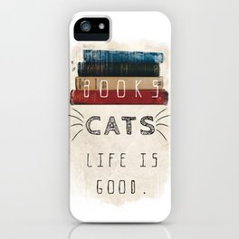 Books and cats design iPhone Case