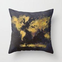 world map 65 yellow Throw Pillow
