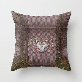 Noble steampunk heart Throw Pillow