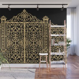 French Wrought Iron Gate | Louis XV Style | Black and Gold Wall Mural