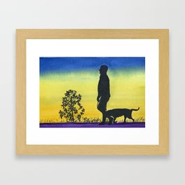 Man Walking his Dog at Sunset Framed Art Print