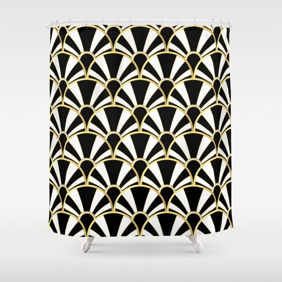 Black White And Gold Classic Art Deco Fan Pattern Shower