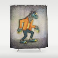 werewolf Shower Curtains featuring Unicorn Werewolf by That's So Unicorny