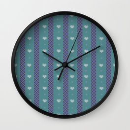 Purple and Green Plaid Wall Clock