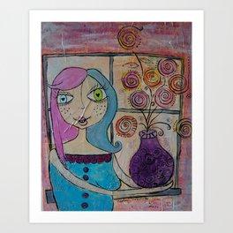 Flowers in her Window Art Print
