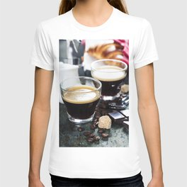 Breakfast with coffee and croissants T-shirt