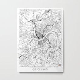 Cincinnati Map White Metal Print
