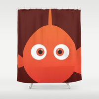 finding nemo Shower Curtains featuring PIXAR CHARACTER POSTER - Nemo - Finding Nemo by Marco Calignano