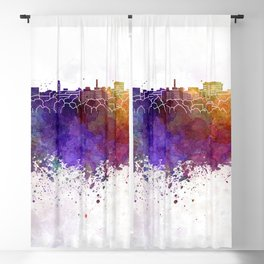 Ann Arbor skyline in watercolor background Blackout Curtain