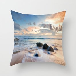 Frothy Seascape Sunset Throw Pillow