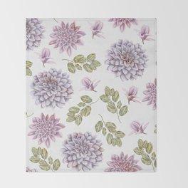 Lavender Rose Garden Floral Pattern Throw Blanket