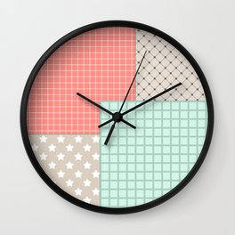Retro patchwork Wall Clock