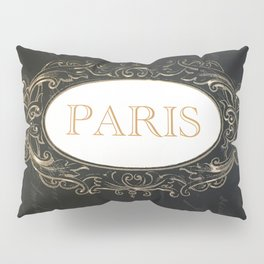 Paris Black White Gold Typography Home Decor Pillow Sham