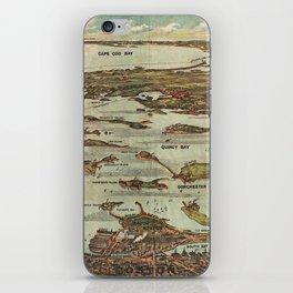 Boston Harbor Birds-Eye View Map iPhone Skin