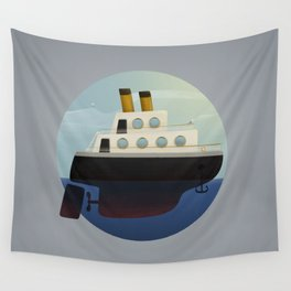 The little big boat on the sea, round design Wall Tapestry