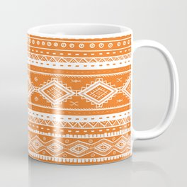 Tribal Aztec Lace Pattern (orange) Coffee Mug