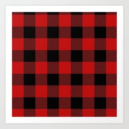 Western Country Woodland Christmas Cottage Primitive lumberjack Buffalo Plaid Art Print