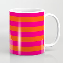 Super Bright Neon Pink and Orange Horizontal Beach Hut Stripes Coffee Mug