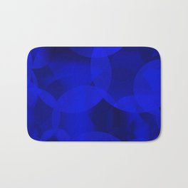 Abstract soap of ultramarine molecules and transparent bubbles on a deep blue background. Bath Mat