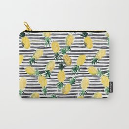 fresh pineapples on stripes watercolor Carry-All Pouch