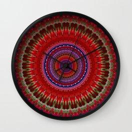 red county  Mandala Wall Clock