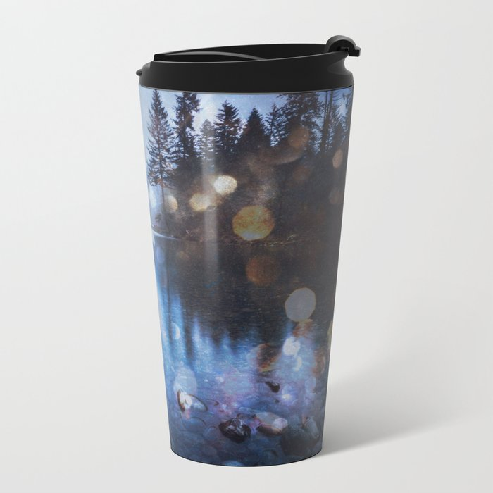 Magical Blue Forest Water Reflection - Nature Photography Metal Travel Mug