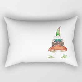 Gnome Sitting on a Mushroom Rectangular Pillow