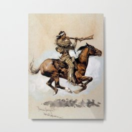 "Frederic Remington ""Buffalo Hunter Spitting Bullets"" Western Art Metal Print"