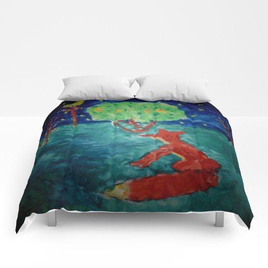 Little Fox at moonshine Comforters