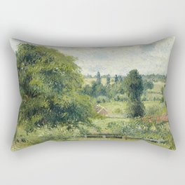"Camille Pissarro ""Le grand noyer dans le pré, Éragny"" (""The big walnut in the meadow, Éragny"") Rectangular Pillow"