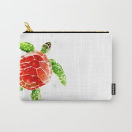 turtle, swimming turtle design red-green turtle art Carry-All Pouch