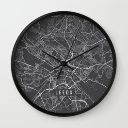 Leeds Map, England - Gray Wall Clock