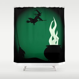 Halloween Witch Poster Background Shower Curtain