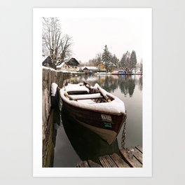 Boats At The Bled Lake Art Print