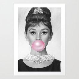 Audrey Hepburn Bubble gum Art Art Print