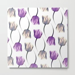 Metallic & Violet Tulips Metal Print
