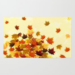 Red Maple Leaves Rug