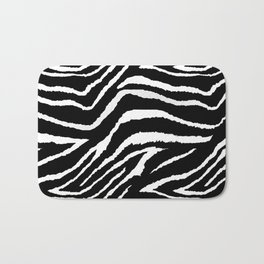 Animal Print Zebra Black and White Bath Mat