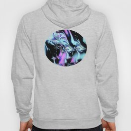 blue pink aurora at night sky abstract painting Hoody
