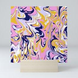 pink, navy & gold marble Mini Art Print