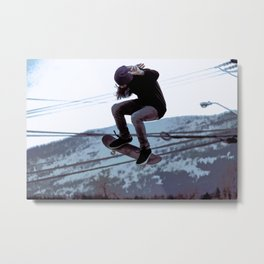 High Flying Skateboarder Metal Print