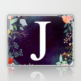 Personalized Monogram Initial Letter J Floral Wreath Artwork Laptop & iPad Skin